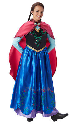 Womens Ladies Anna Fancy Dress Costume Outfit Official Frozen Disney (Anna Womens Kostüm)