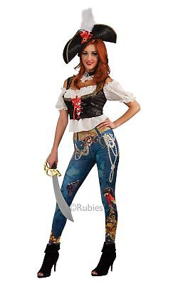 ADULT PIRATE BOOTY CARIBBEAN BUCCANEER LADIES FEMALE FANCY DRESS COSTUME AND HAT