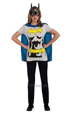 LADIES COMIC BOOK BATGIRL T-SHIRT BATMAN SUPERHERO FANCY DRESS COSTUME OUTFIT