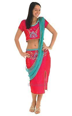 LADIES BOLLYWOOD STARLET SAREE BELLY DANCER INDIAN FANCY DRESS COSTUME - Indian Belly Dancer Kostüm