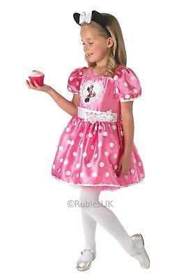 Mädchen Minnie Maus Disney gepunktet Pink Cupcake Kinder Kostüm Kleid (Mädchen Cupcake Kostüme)