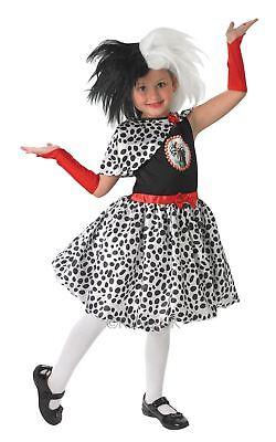 Mädchen Cruella De Vil Disney 101 Dalmatiner Bösewicht Kostüm Kleid Outfit