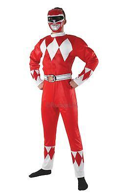 Herren Rot Power Ranger Mighty Morphin Tv-Show Outfit Cosplay Verkleidung Kostüm