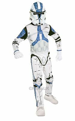 BOYS CLONE TROOPER FANCY DRESS STAR WARS FILM TV MOVIE STORM KIDS COSTUME OUTFIT
