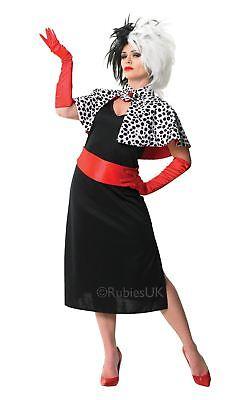 Damen Cruella De Vil Disney Bösewicht 101 Dalmatiner Kostüm Kleid Outfit