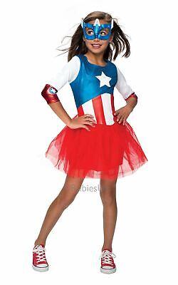Girls Captain America Costume Kids Marvel DC Comics Superhero Fancy Dress Outfit - Captain America Costume For Girl