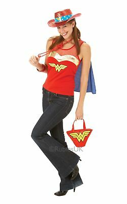 Damen Wonder Woman Top T-Shirt Ärmelloses Rot Superheld mit Cape Kostüm