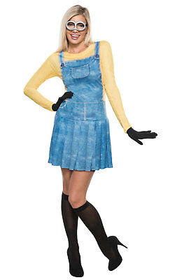 Minion Fancy Dress Costume Despicable Me Outfit Adult Womens Ladies UK 8-18](Minion Lady Costume)