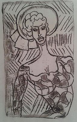 Franz Haas Frau mit Hut Woman with hat Porträt von 1949  Monotyp  Öl sig. Unikat