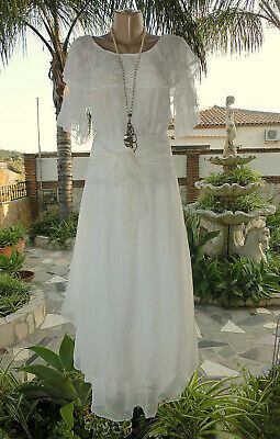 Italy Set Maxi Rock Chiffon+Carmen Bluse Spitze Off White Chic BeInn EG 38-42 Chiffon Set