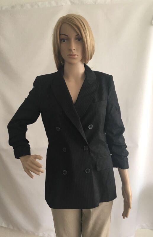 Zara Double Breasted Pinstripe Jacket Blazer Gathered Sleeves Size S BNWT RRP£70