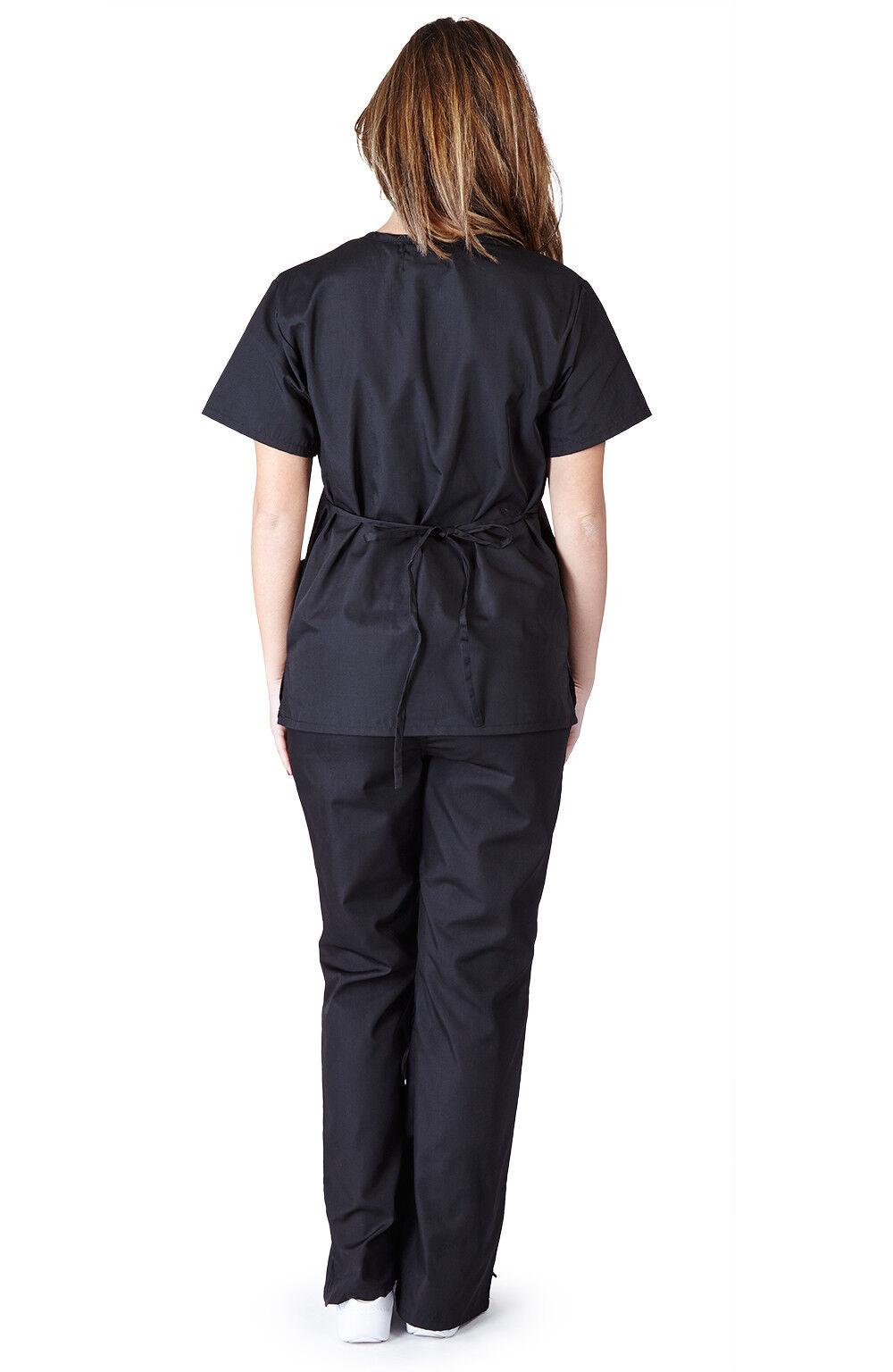Medical Women Scrubs Sets NATURAL UNIFORMS Size XS S M L XL 2XL 3XL Mock Wrap