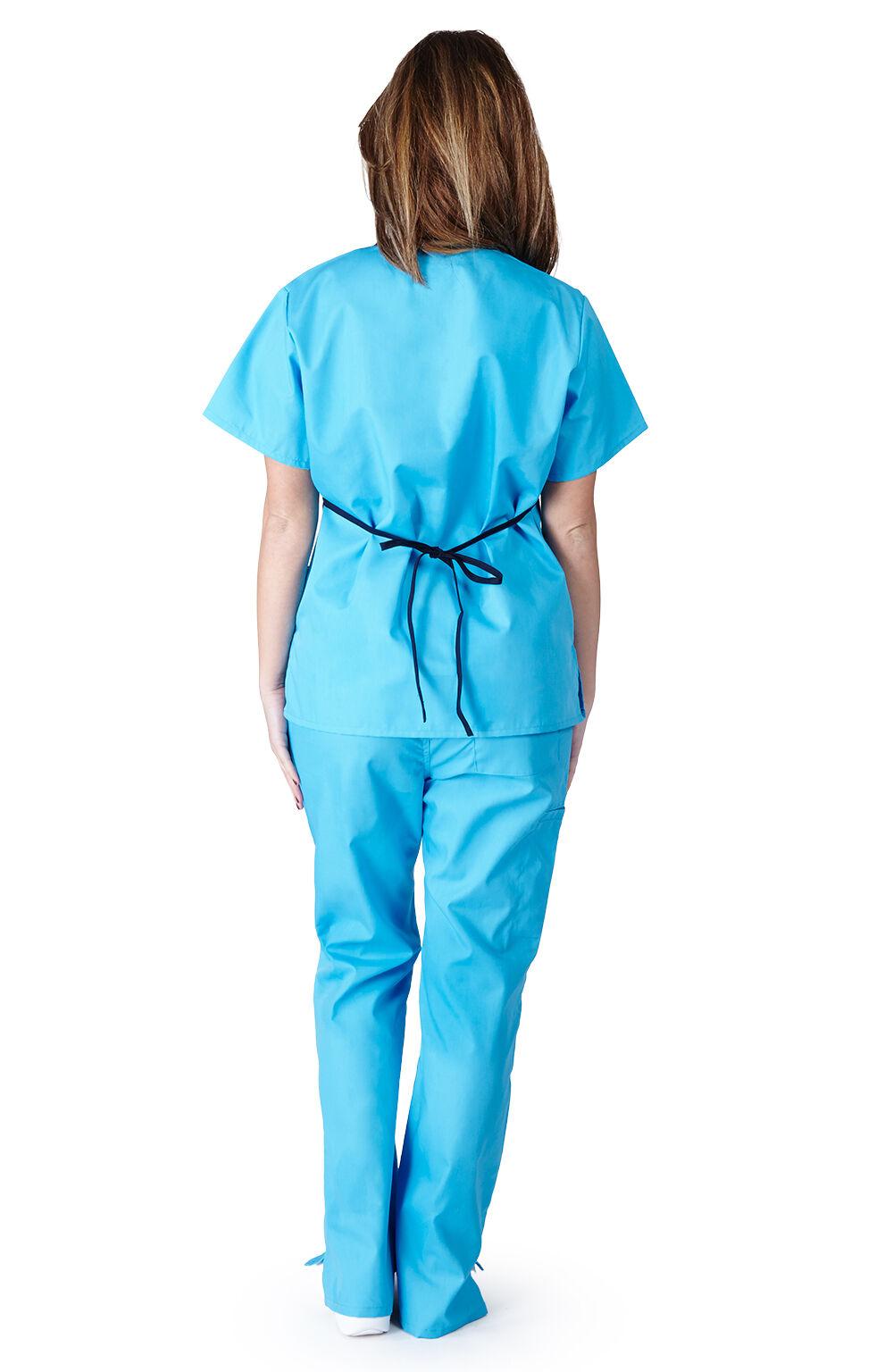 Medical Nurse Scrubs NATURAL UNIFORMS Contrast Mock Set Size XS S M L XL 2XL 3XL