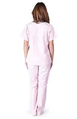 Medical Nursing Women Scrub NATURAL UNIFORMS Contrast JERSEY Full Set Top Pants