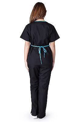 Medical Nursing Women Scrubs NATURAL UNIFORMS Contrast Mock Sets Size XS - 3XL