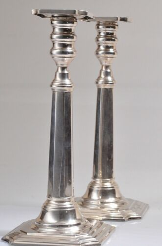 "2 Vintage Hallmarked Sterling Silver Candlestick Holders 10""Tall"