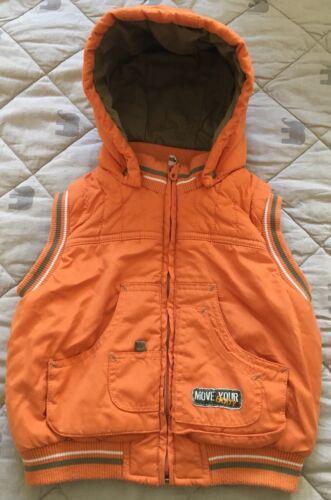 Steppweste Jacke Baby Junge Frühling Übergang 74 80 86 Orange Apricot Kapuze