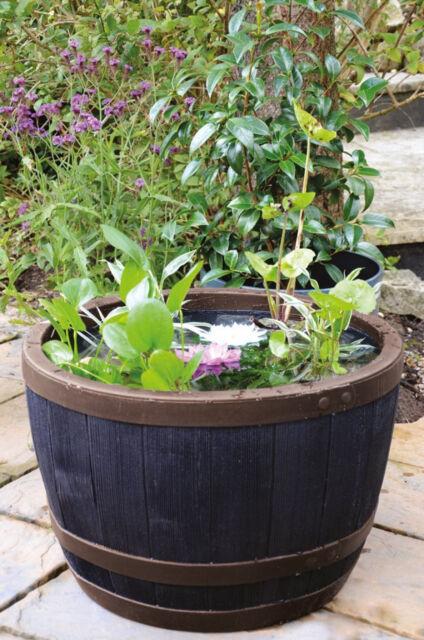 Outdoor Garden Barrel Planter Large Wooden Effect Decorative Big Plant Pot