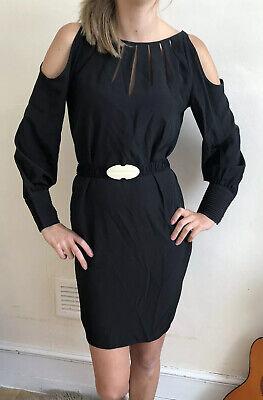 £185 Stunning Hoss Intropia Dress 38 Uk 10 100% Silk Black Belted Cut Out