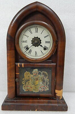 Antique Waterbury 8 day cathedral wood mantle shelf clock chime strike