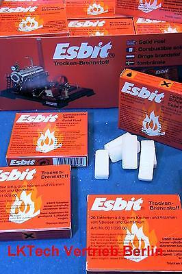 ESBIT Trockenbrennstoff Tabletten Schachtel 20 x 4 g, Kerzenboot Dampfmaschine