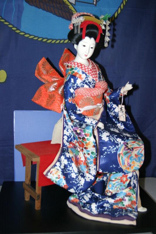 GEISHA JAPANESE DOLL KIMONO 46 Sitting Oyama Doll SUKIYO