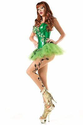Be Wicked Sexy Poison Ivy Costume Corset Tutu Skirt w/Leaves Crystals Glitter ML (Green Corset Poison Ivy)