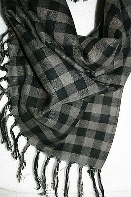 Women Girls Checkered Scarf Wrap Scarves Black Grey Fringe Acrylic 32 X 38