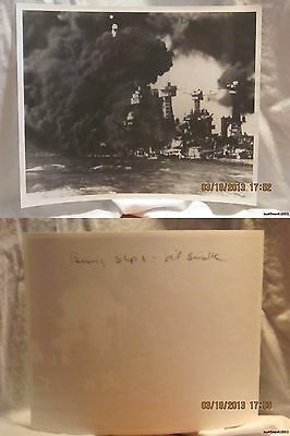 Reprint 8x10 Photo-USN: Burning Ships-Oil Smoke-Bombing of Pearl Harbor