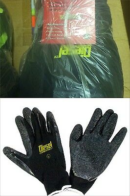 Wholesale Pack Of 12 Black Latex Coated Utility Gloves By Diesel