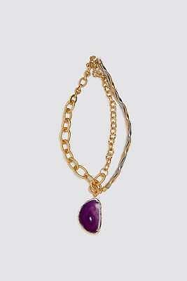 Necklace Zara Natural Purple Stone Pendant Jewelry Designer Silver Golden NEW