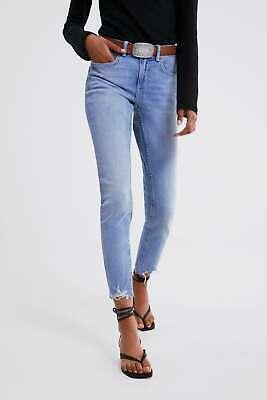 ZARA UK10 EUR38 Jeans Mid Rise Skinny Light Blue Denim Slim