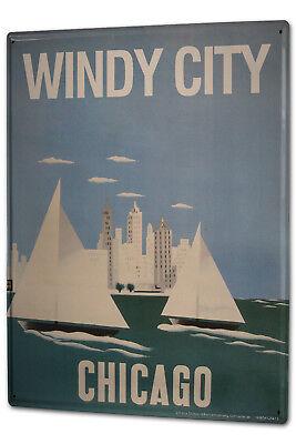 Blechschild XXL Reisen Küche  Chicago  Chicago Küche