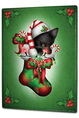 Tin Sign XXL Santa Claus  cap cat Stockings  ()