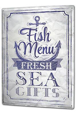 Tin Sign XXL Nostalgic Motif Fish menu metal plate plaque
