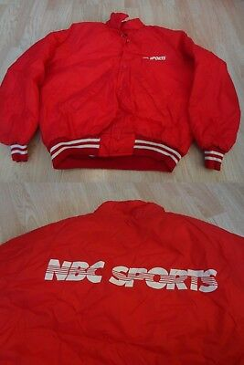 Mens Nbc Sports L Vintage 1970S Or 1980S Light Coat Heavy Jacket  Red  Sexton
