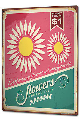 Tin Sign XXL Flower Shop Vintage flowers metal plate (Flower Shop Tin)
