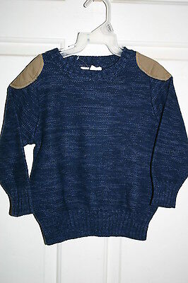 NWT Old Navy Size 2T Toddler Boy Blue Marled Crewneck Winter Sweater Patch