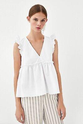 Zara White Ruffle Blouse Trafaluc Collection XS/S Ajustable Straps