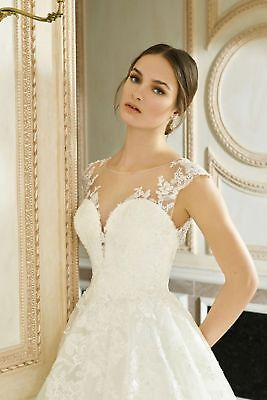Prinzessin Spitze Brautkleid Hochzeitskleid Kurzarm Sheer Spitze Transparent  ()