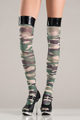 Vinyl Thigh Highs (NWT sexy BE WICKED vinyl TOP camo CAMOUFLAGE army SOLDIER thigh HIGHS)
