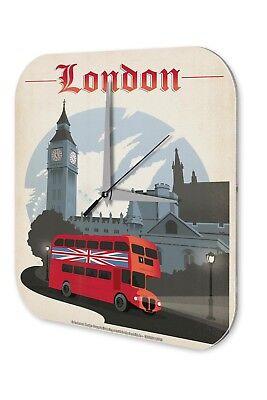 Wall Clock City  London Double-Decker Bus Big Ben Printed Acryl Acrylglas Retro Double Wall Acryl