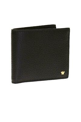VERSACE Mens Bifold Wallet Grained Black Leather Gold Tone Medusa RRP £270