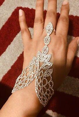 Silver Clear White Crystal Rhinestone Wedding Slave Hand Chain Ring -