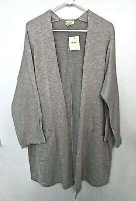 DONNI Ribbed Sweater Cardigan Open Front Pockets One Size Fits All $99 NEW