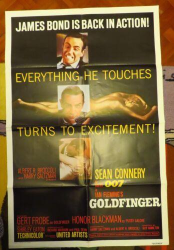 Vintage Rare USA 1964 Original 007 James Bond Goldfinger USA  Movie Poster