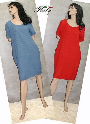 Damenkleid Halbarm Schlafsack 100% Baumwolle Einheitsgröße Made in Italy