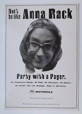 Motorola, Anna Rack, Party With a Pager Postcard - Original 1990's Advertising