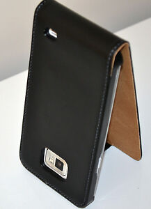 Black-Samsung-Galaxy-S2-i9100-Genuine-Real-Leather-Flip-Phone-Case-Cover-Skin