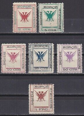 ALBANIA 1917, Sc# 55-61, CV $97.50, Part Set, National Emblem, MH
